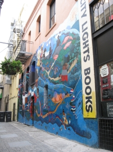 The mural, Vida y Sueños de la Cañada Perla, recreated at City Lights Books, San Francisco