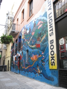 The mural, Vida y Sueños de la Cañada Perla, recreated at City Lights Books, San Francisco